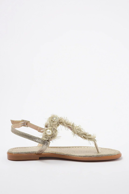Trendyolmilla Bej İnci ve Taş Detaylı Sandalet