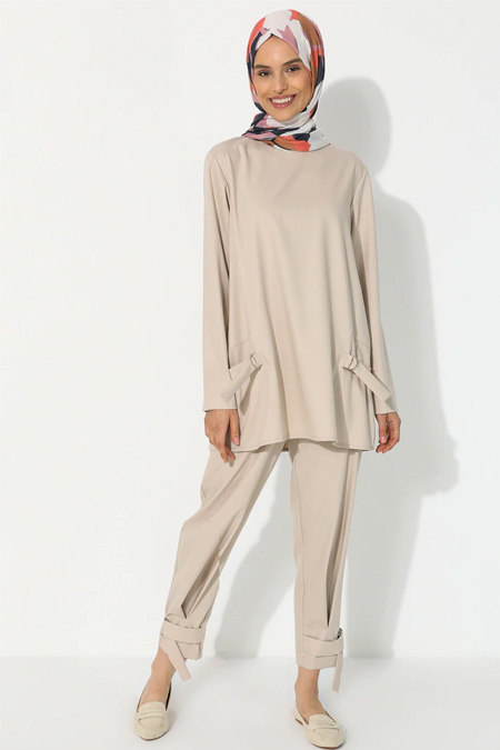 YAQA Bej Tunik & Pantolon İkili Takım