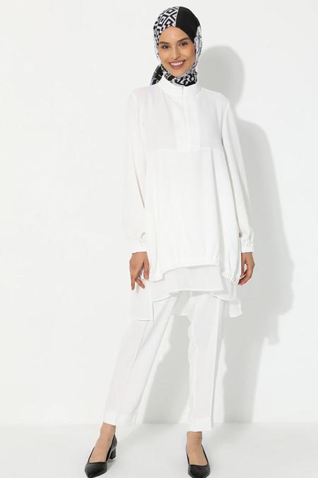 YAQA Beyaz Tunik & Pantolon İkili Takım