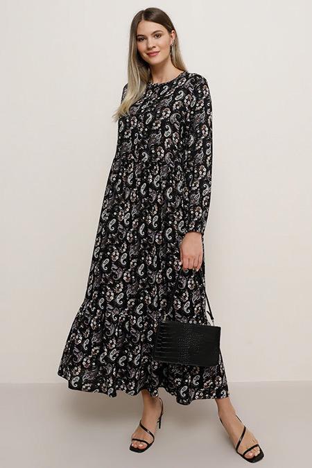 Alia Mistik Mor Doğal Kumaşlı Şal Desenli Elbise