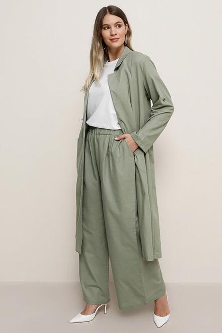 Alia Su Yeşili Doğal Kumaşlı Beli Lastikli Pantolon