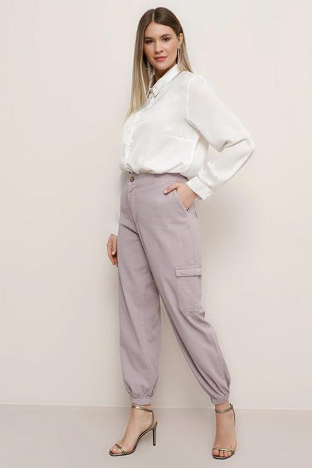 Alia Toz Lila Doğal Kumaşlı Beli Lastikli Pantolon