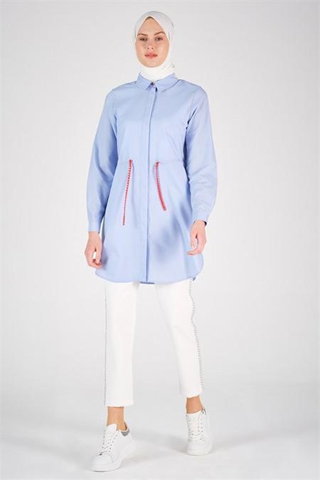 Armine Bebe Mavi Zincir Detaylı Gömlek