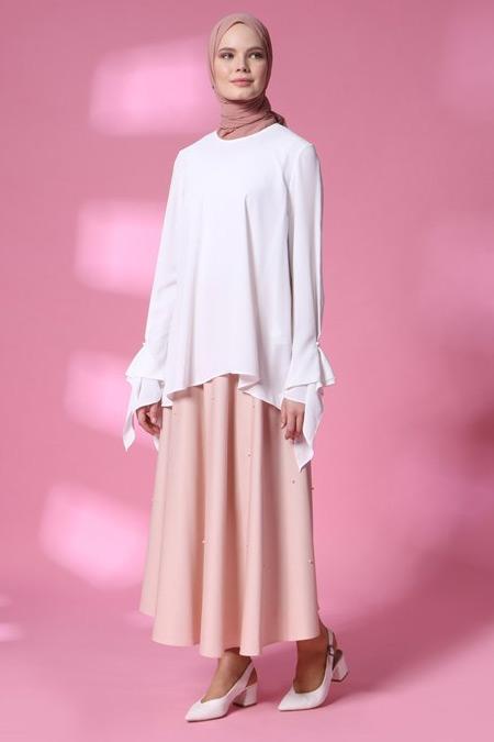 Armine Beyaz Boncuk Detaylı Bluz