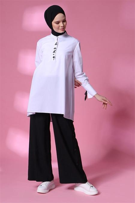 Armine Beyaz Kurdale Detaylı Gömlek