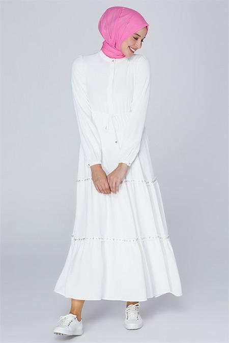 Armine Ekru Bağcık Bağlamalı Elbise