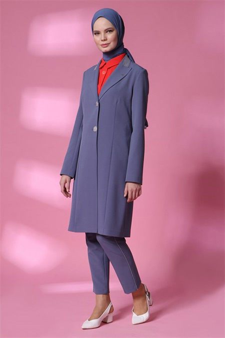 Armine Gri Mavi Ceketli Takım