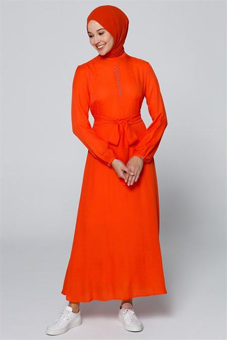 Armine Oranj Boncuk İşlemeli Elbise