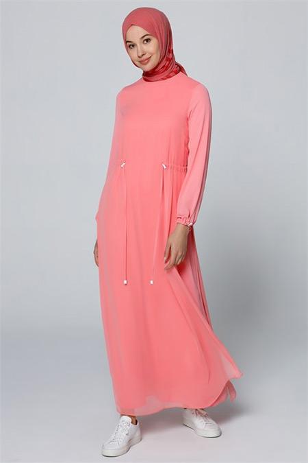 Armine Pembe Şifon Detaylı Elbise