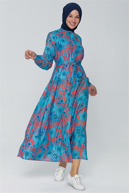 Armine Saks Çiçek Desenli Elbise