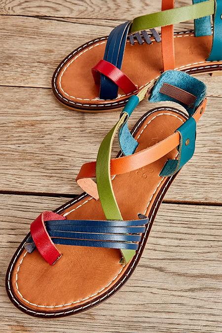 Bambi Çok Renkli Hakiki Deri Sandalet