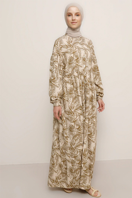 Benin Bej Doğal Kumaşlı Desenli Elbise