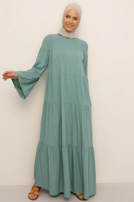 Benin Çağla Doğal Kumaşlı Salaş Elbise