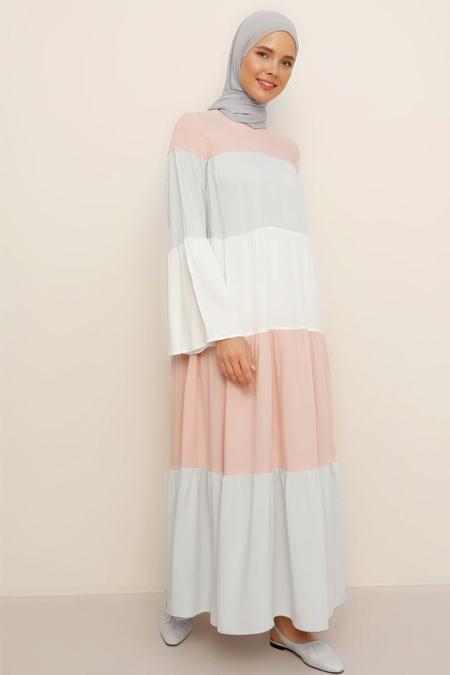 Benin Derin Pembe Beyaz Doğal Kumaşlı Elbise