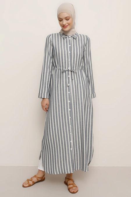 Benin Doğal Kumaşlı Çizgili Lacivert Tunik Elbise