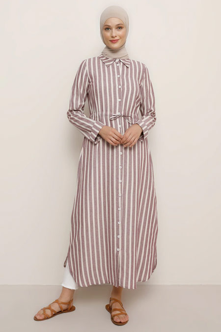 Benin Doğal Kumaşlı Çizgili Mürdüm Tunik Elbise