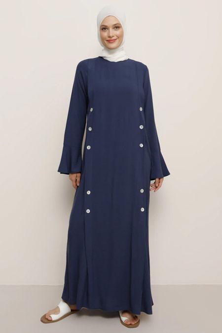 Benin Doğal Kumaşlı Düğme Detaylı Lacivert Elbise