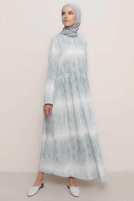 Benin Doğal Kumaşlı Degrade Mavi Elbise
