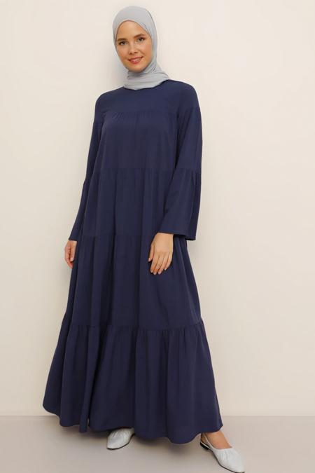 Benin Lacivert Doğal Kumaşlı Salaş Elbise