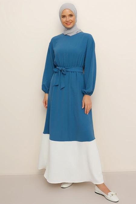 Benin Mavi Beyaz Garnili Elbise