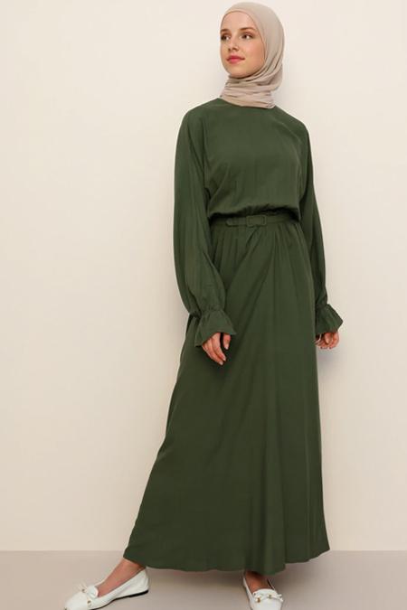 Benin Tropik Yeşil Doğal Kumaşlı Beli Lastikli Elbise