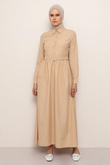 Everyday Basic Camel Doğal Kumaşlı Kemer Detaylı Elbise