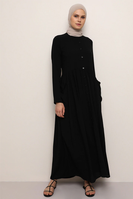 Everyday Basic Siyah Doğal Kumaşlı Boydan Düğmeli Cepli Elbise