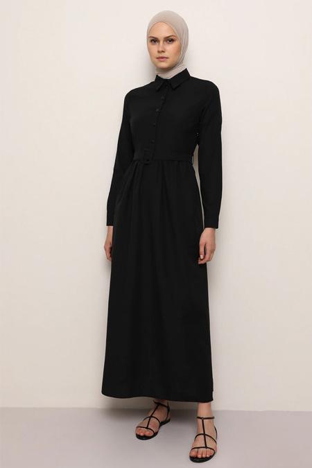 Everyday Basic Siyah Doğal Kumaşlı Kemer Detaylı Elbise
