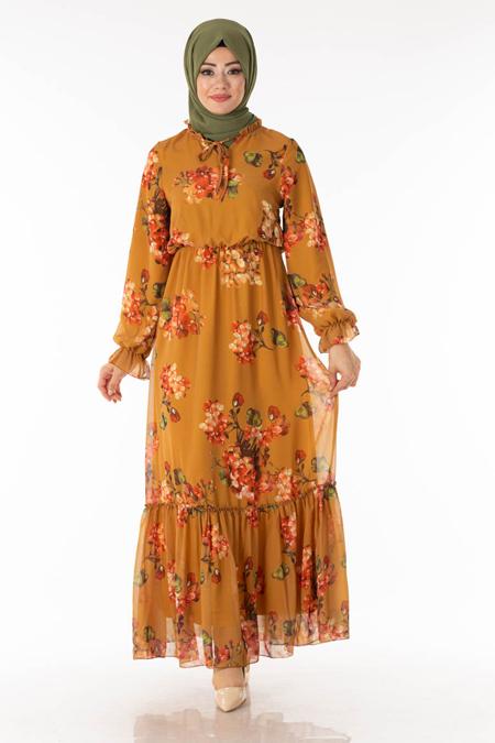 Hardal Çiçekli Şifon Elbise