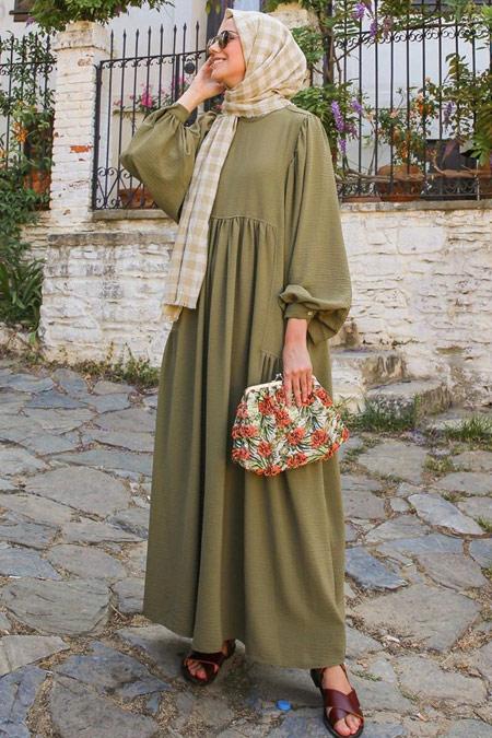 HE-QA Olive Kolu Büzgülü Elbise
