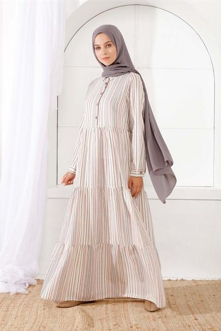 İnşirah Füme Önü Düğmeli Çizgili Elbise