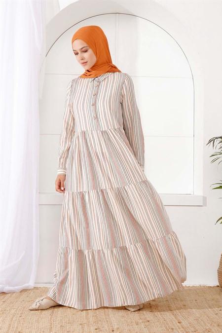 İnşirah Haki Önü Düğmeli Çizgili Elbise