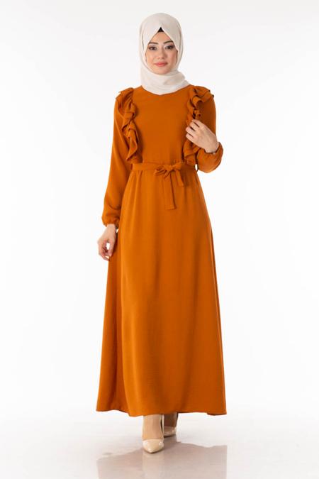 Kiremit Göğsü Fırfırlı Tesettür Elbise
