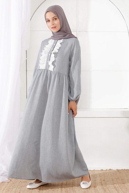İnşirah Kol Uçları Lastik Detaylı İndigo Elbise