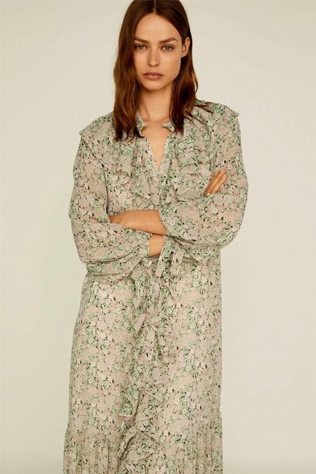 Mango Pembe Çiçekli Fırfırlı Elbise