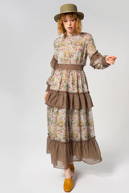Miha Haki Desenli Elbise