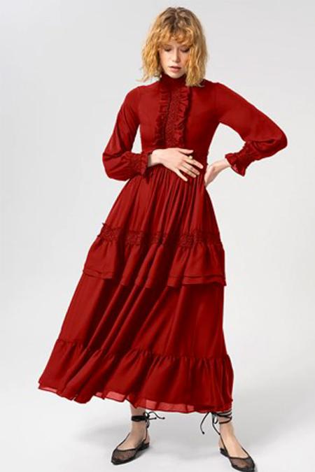 Miha Kırmızı Fırfır Detaylı Elbise
