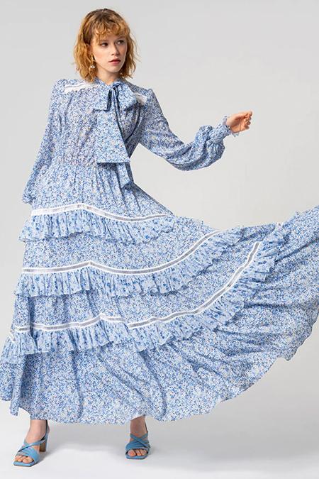 Miha Mavi Desenli Elbise