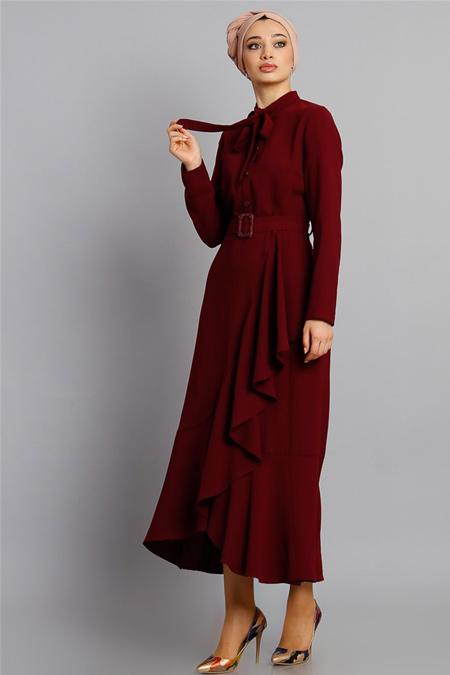 Modamelis Bordo Volanlı Düğme Detay Elbise