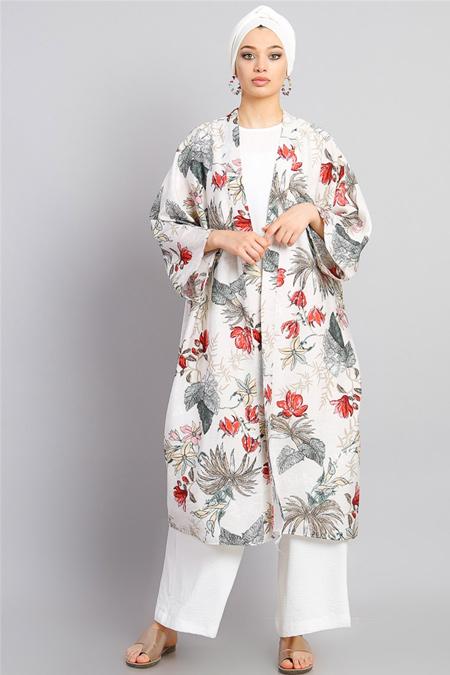 Modamelis Ekru Desenli Keten Kimono