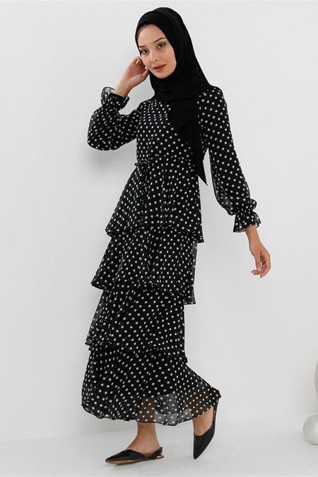 Modamelis Kat Kat Puanlı Siyah Elbise
