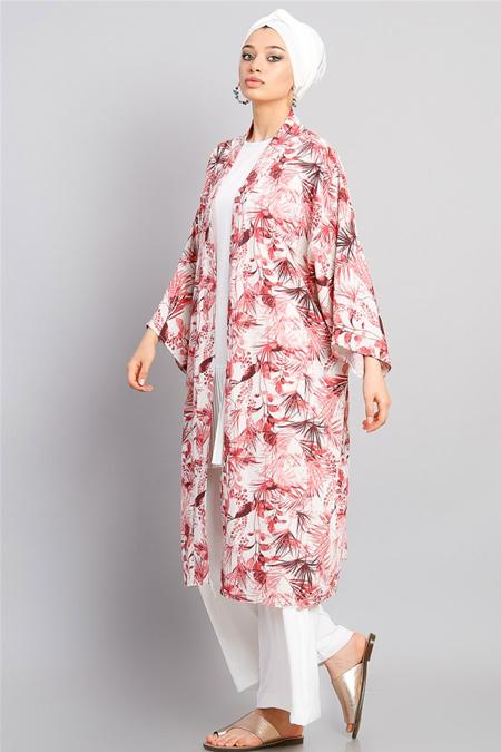 Modamelis Kırmızı Desenli Keten Kimono