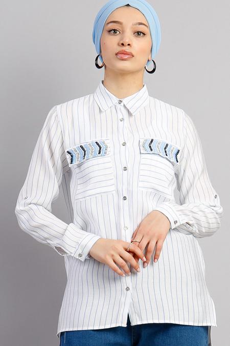 Modamelis Mavi Çizgili Boncuk İşlemeli Gömlek