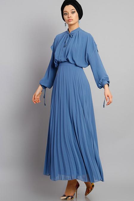 Modamelis Mavi Piliseli Bağcık Detaylı Elbise
