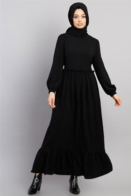 Modamelis Siyah Beli Büzgülü Aerobin Elbise