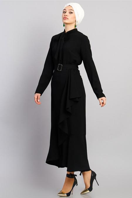 Modamelis Siyah Volanlı Düğme Detay Elbise