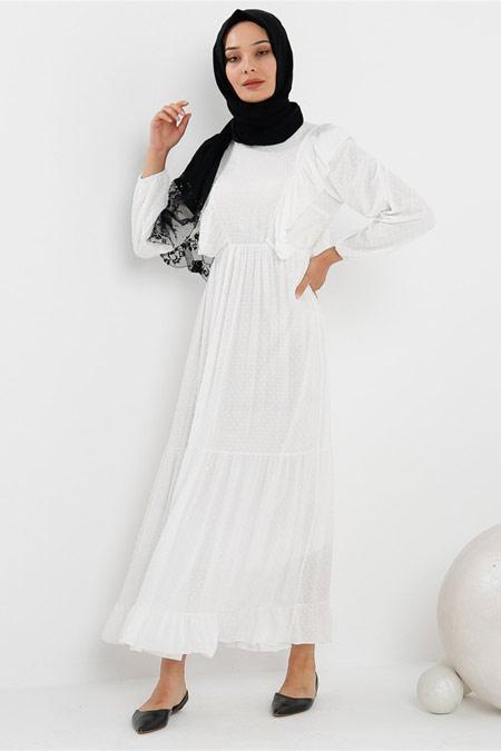 Modamelis Yakası Fırfırlı Beyaz Elbise