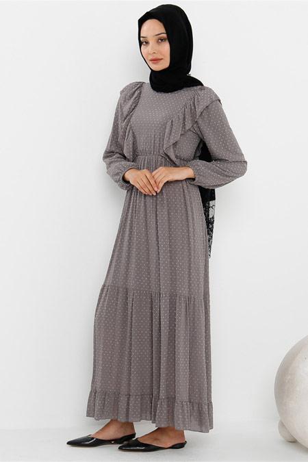 Modamelis Yakası Fırfırlı Gri Elbise
