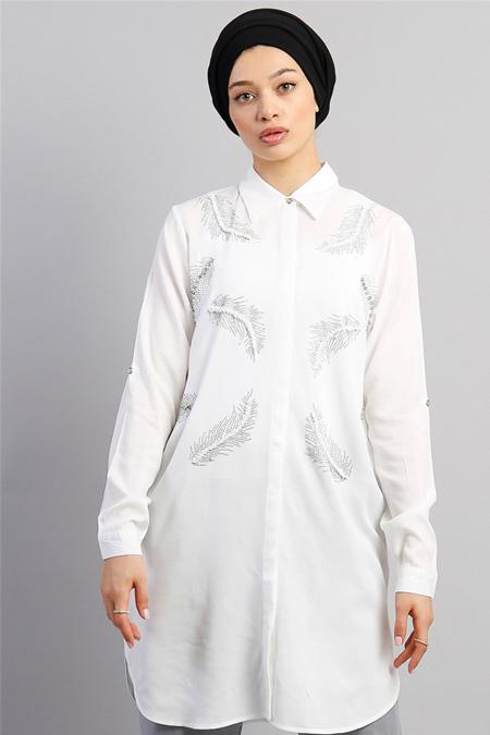 Modamelis Yaprak İşlemeli Tunik Gömlek