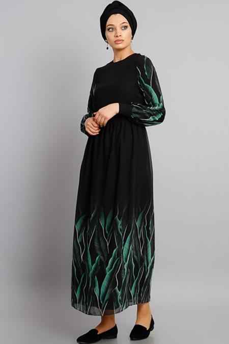 Modamelis Yeşil Desenli Elbise